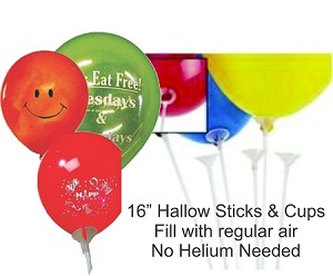 "16"" BALLOONS HALLOW STICKS & CUPS 100 CT"